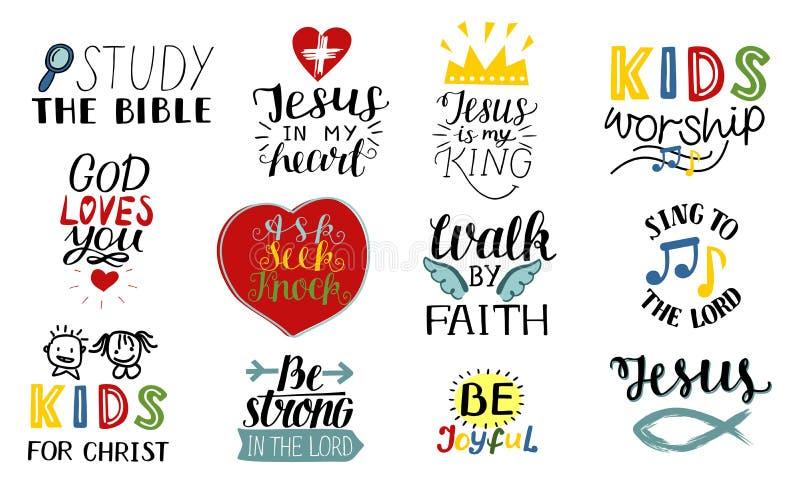 套12手字法基督徒行情耶稣是我的国王,学习圣经,由信念,孩子部的步行,唱歌对 库存例证