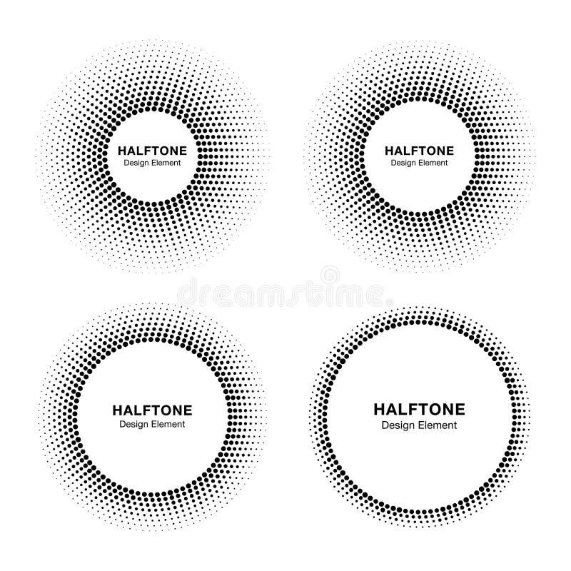 套黑抽象半音传染媒介圈子框架,商标象征医疗的设计元素,治疗,化妆用品 向量例证