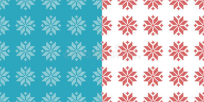 套2无缝的背景发怒针挪威人雪花 民间主题 盖子冻结的模式向量冬天 库存例证