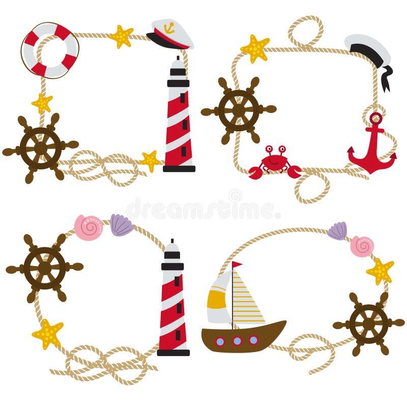 套绳索构筑船舶 向量例证