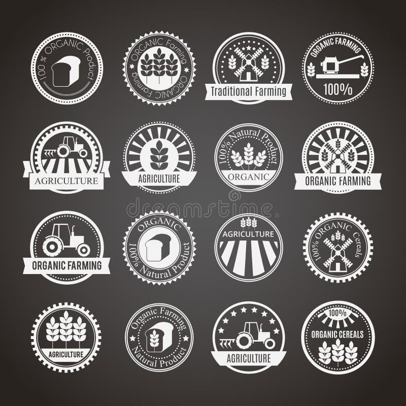 套16枚圆的农业和种田的徽章 向量例证