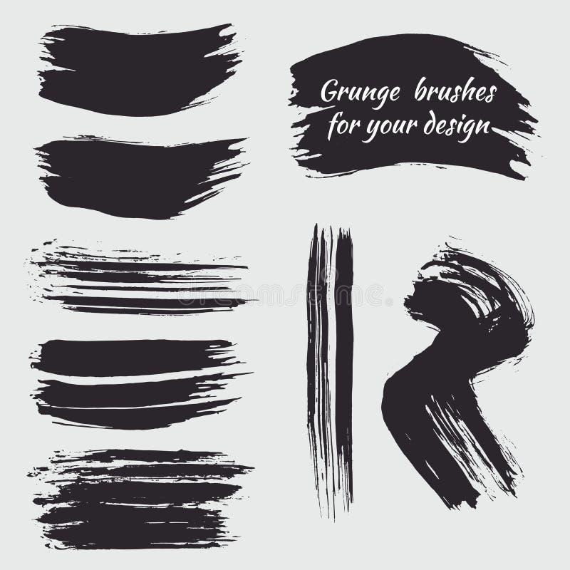 套黑油漆墨水刷子、线和圈子 难看的东西artisti 库存例证