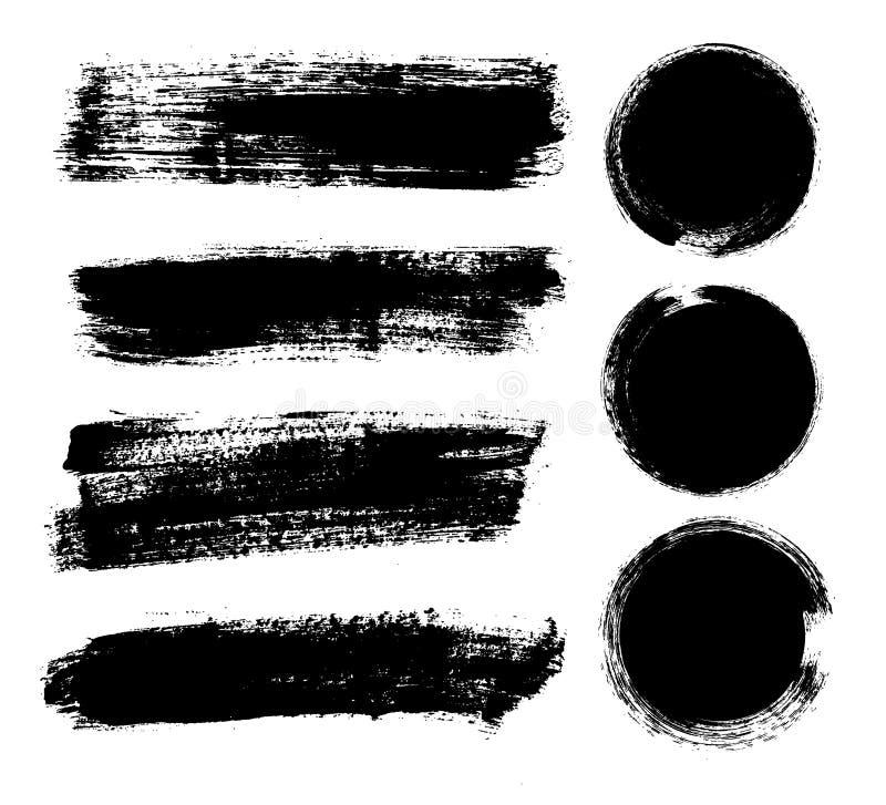 套黑油漆,墨水刷子冲程,刷子,线 肮脏的艺术性的设计元素,箱子,文本的框架 向量例证