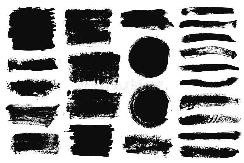 套黑油漆,墨水刷子冲程,刷子,线 肮脏的艺术性的设计元素,箱子,文本的框架 皇族释放例证