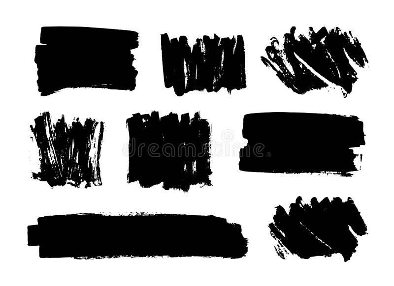 套黑油漆,墨水刷子冲程,刷子,线 肮脏的艺术性的设计元素,箱子,框架,背景 向量例证