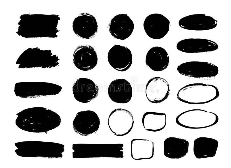 套黑油漆,墨水刷子冲程,圈子,长圆形 肮脏的艺术性的设计元素,箱子,框架,背景 库存例证