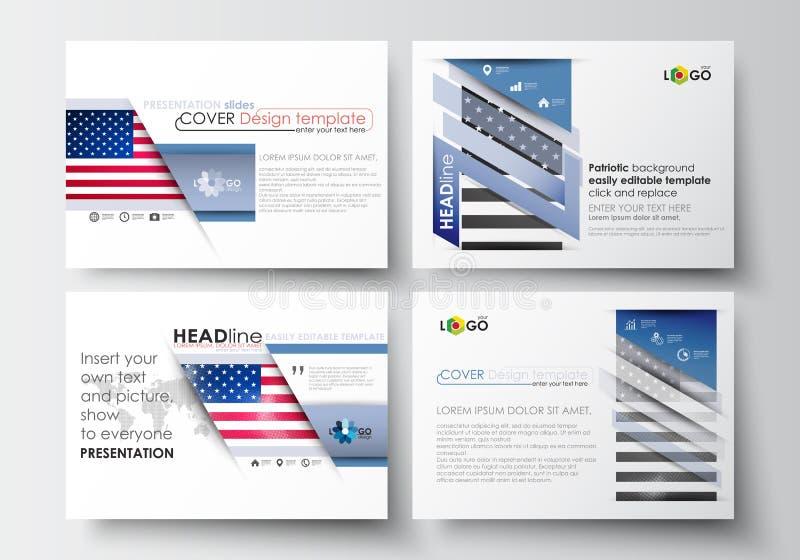 套介绍幻灯片的企业模板 在平的设计的容易的编辑可能的抽象布局 爱国者天背景 向量例证