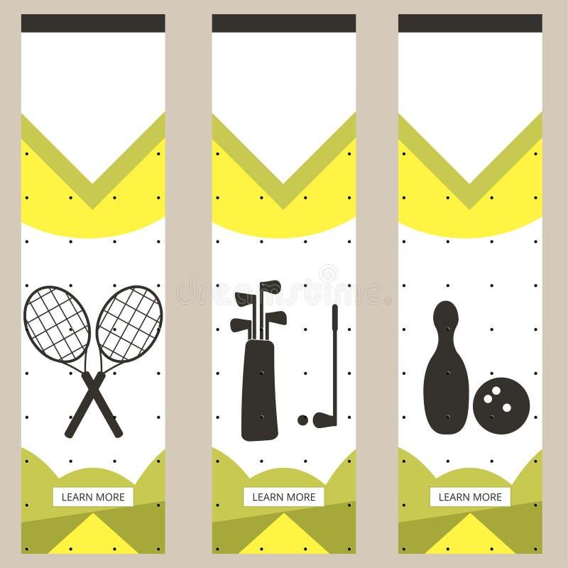 套仿照简单派样式的五颜六色的体育横幅平为商业网站 网球、高尔夫球和保龄球 向量 皇族释放例证