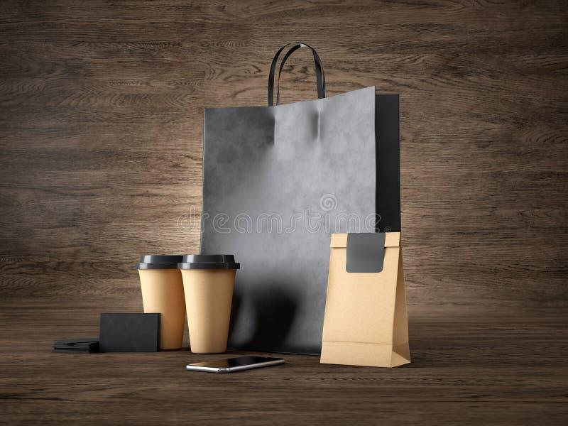 套黑购物袋、工艺杯子、纸包裹、空白的名片和普通设计智能手机 木头 向量例证