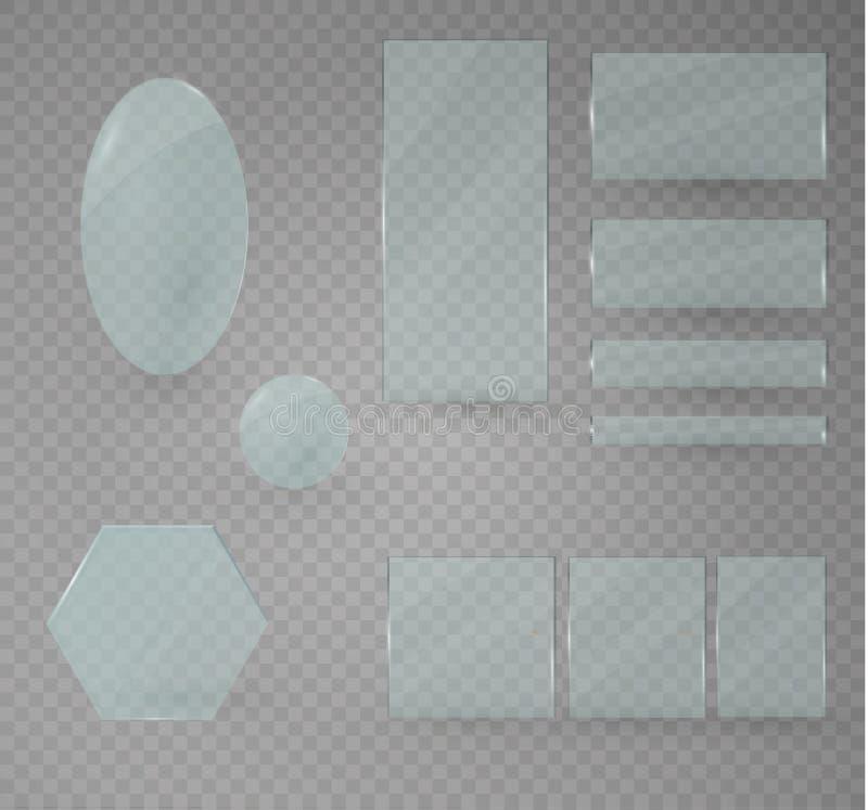 套玻璃板 在透明背景的传染媒介玻璃横幅 透明度 皇族释放例证