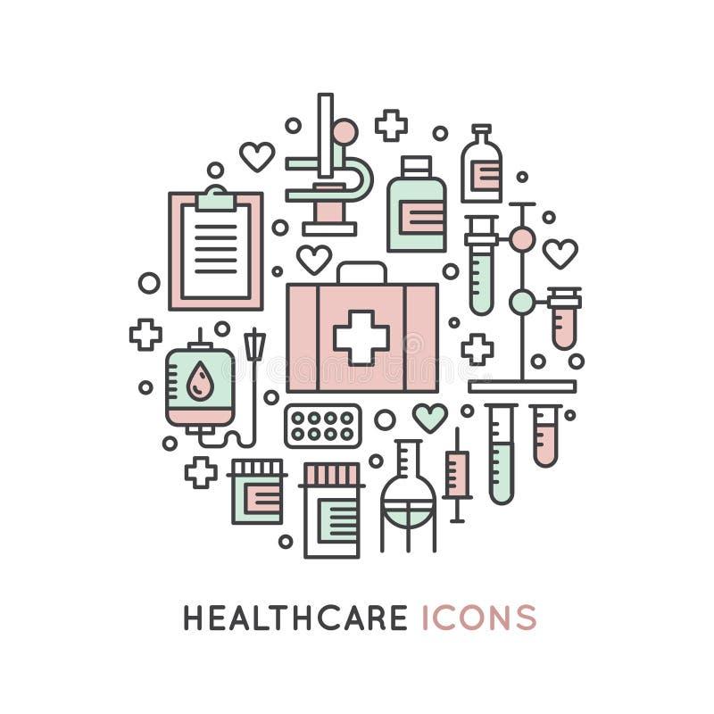 套医疗和健康保健研究项目 皇族释放例证
