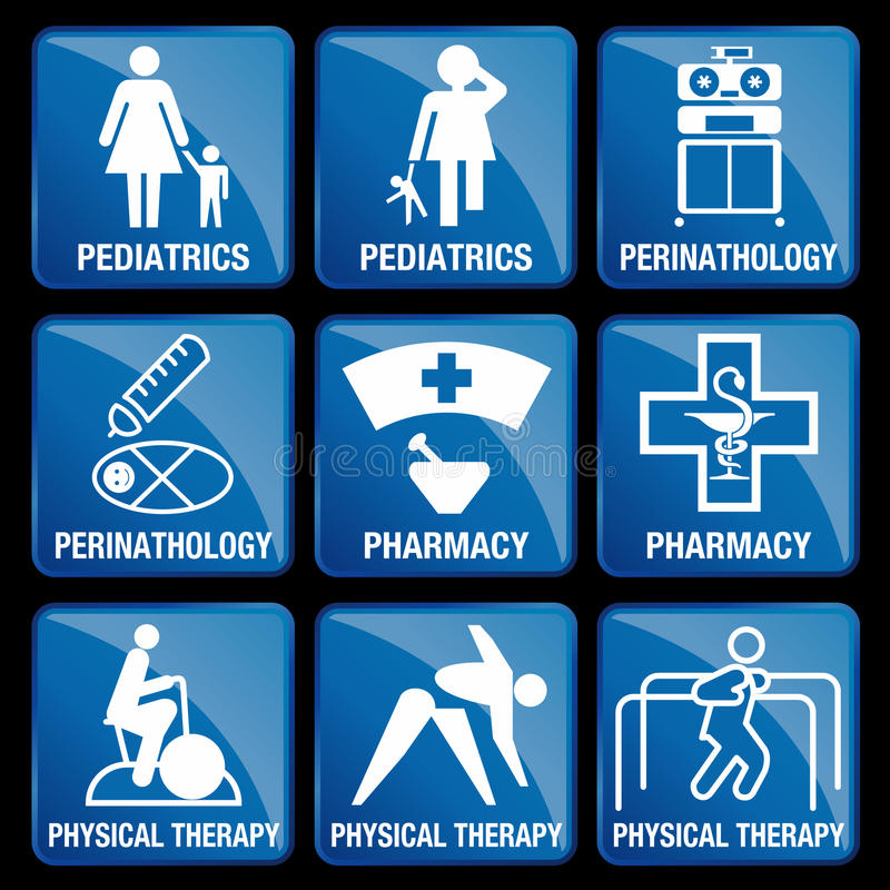 套医疗象在蓝色方形的背景中 库存例证