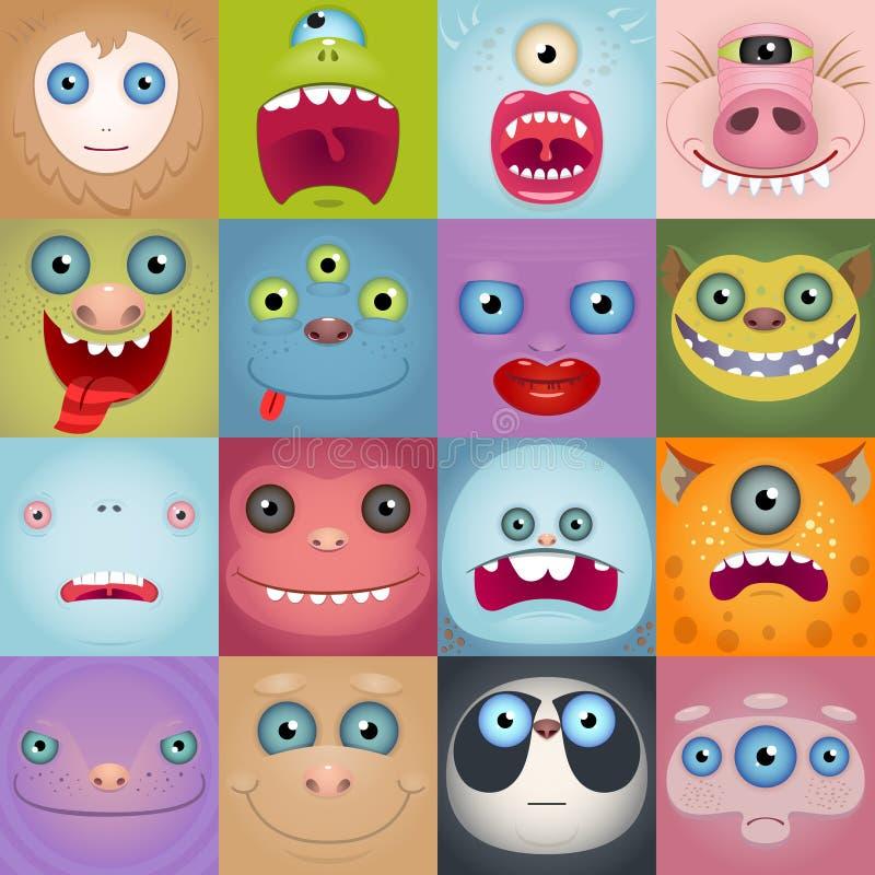 套滑稽的动画片妖怪面孔 皇族释放例证
