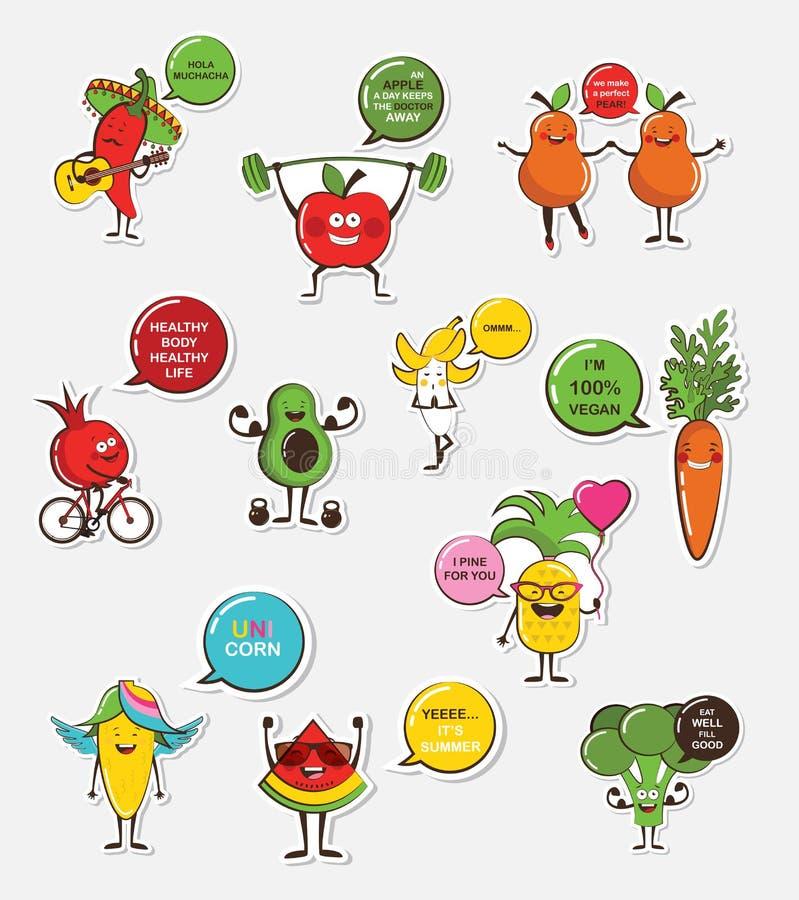 套滑稽的水果和蔬菜象 动画片面孔食物emoji fuuny食物概念 皇族释放例证