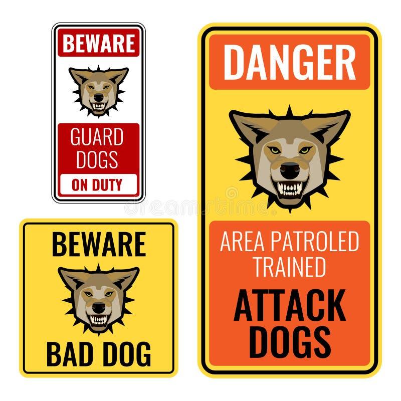 套贴纸与当心坏狗标志传染媒介例证 库存例证