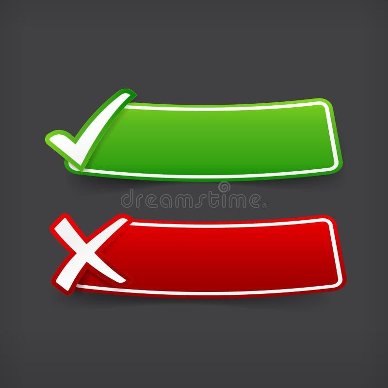 套绿色和红色校验标志标志和空白的横幅与 库存例证