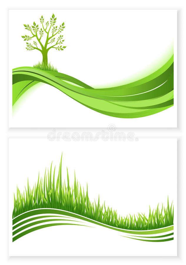 套绿色树和草成长传染媒介eco概念 背景蓝色云彩调遣草绿色本质天空空白小束 与copyspace的汇集抽象例证 向量例证