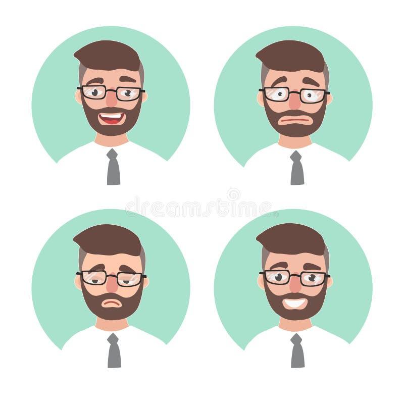 套年轻行家人情感 办公室工作者画象情感具体化 例证商人 库存例证