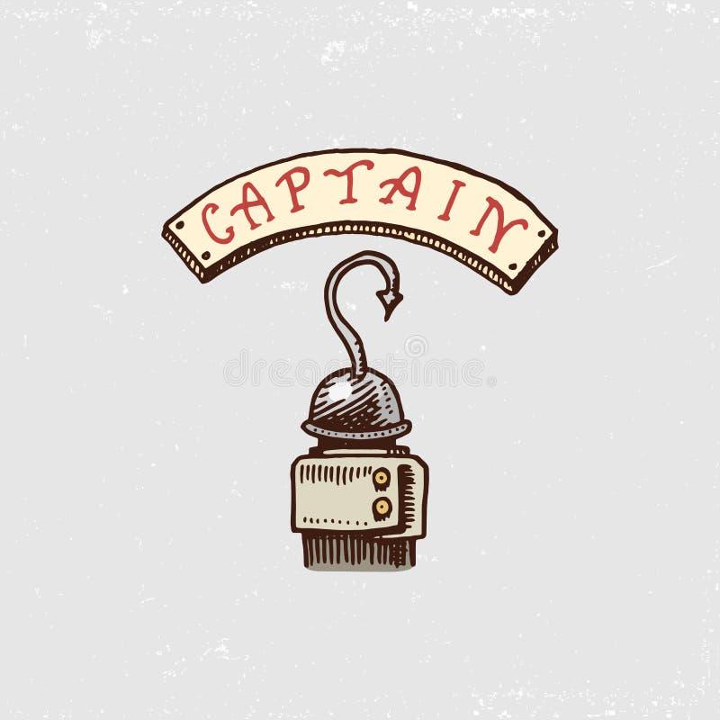 套刻记,手拉,老,标签或徽章海盗的,勾子 船舶的海盗海洋和或者加勒比海 皇族释放例证