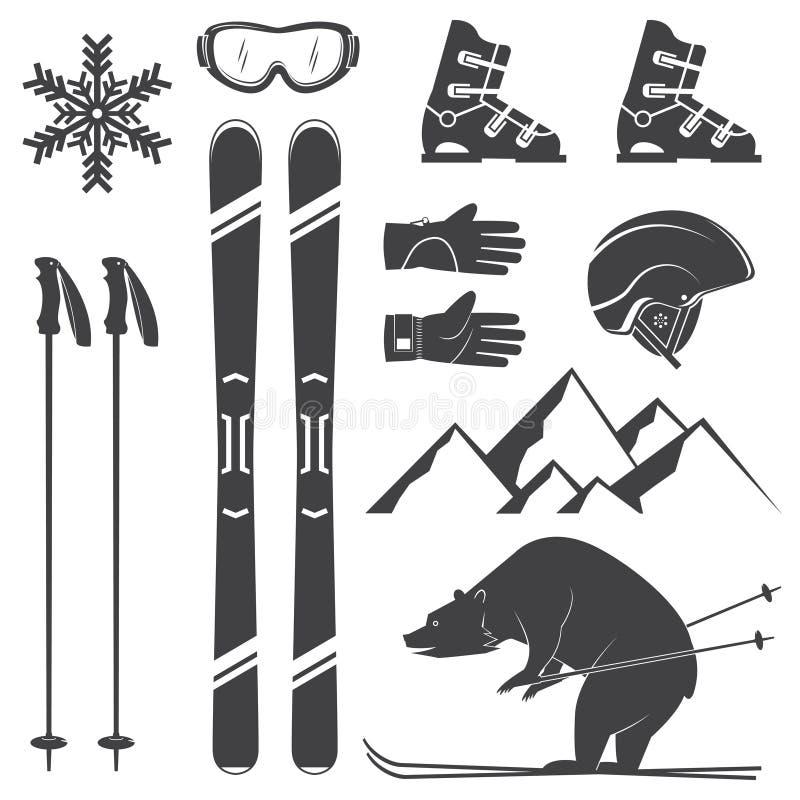 套滑雪设备剪影象 向量例证