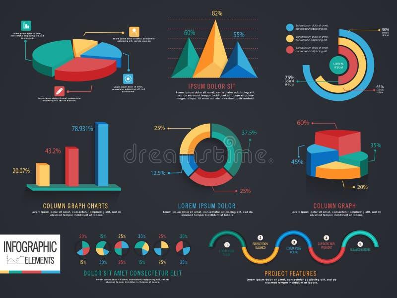 套3D事务的infographic元素 向量例证