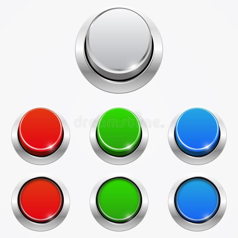 套3d在被按的和没被按的位置的圆的网按钮 皇族释放例证