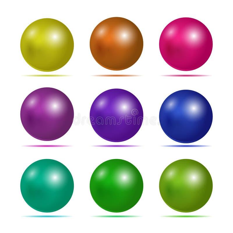 套3D按钮 网的有席子的象 传染媒介设计圆的片剂或半球形 库存例证