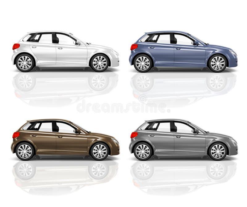套3D斜背式的汽车汽车 皇族释放例证