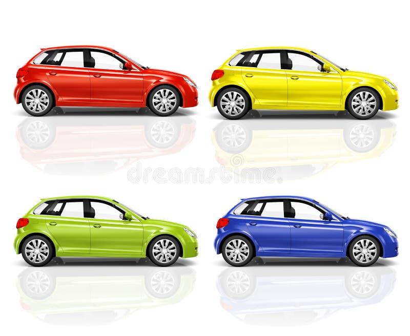 套3D斜背式的汽车汽车 向量例证