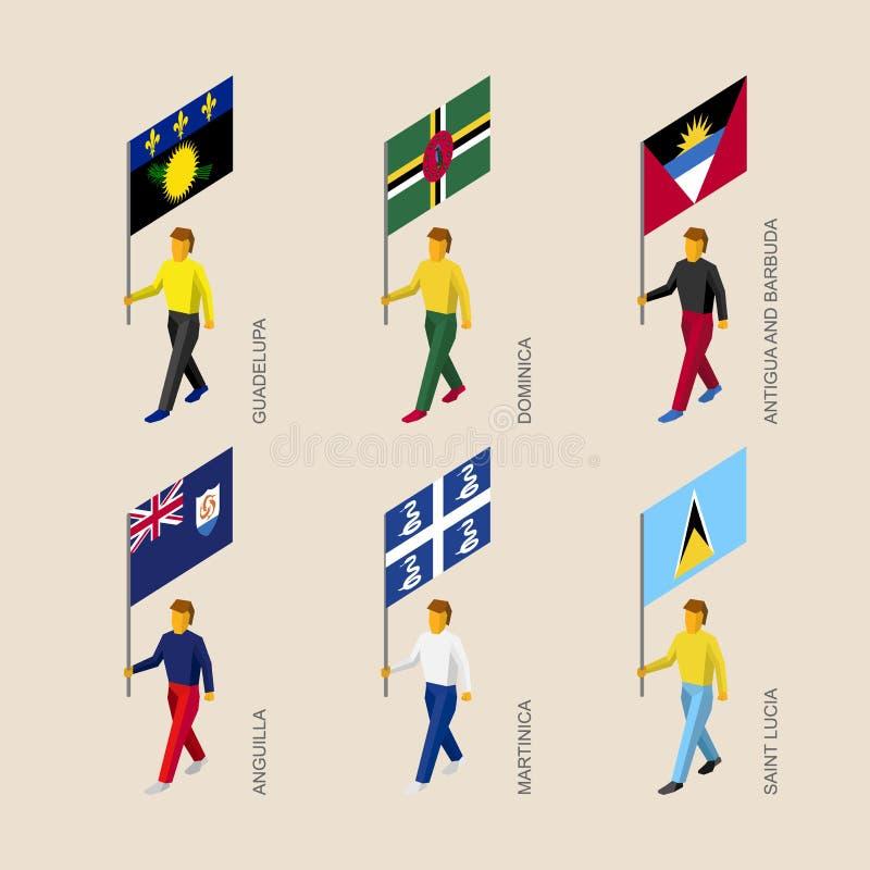 套3d有加勒比海国家旗子的等量人  皇族释放例证