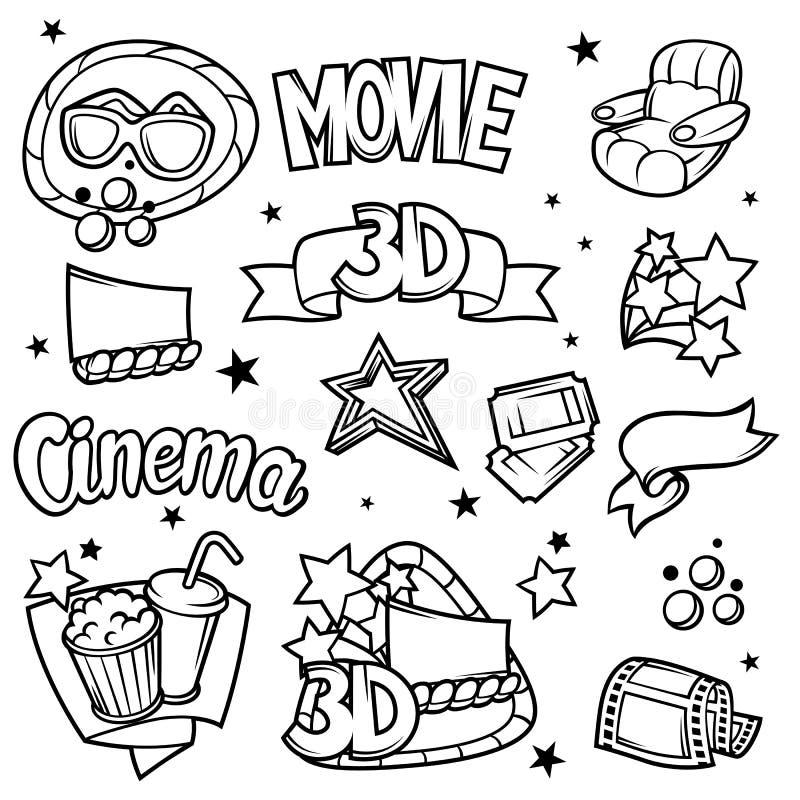 套3d电影设计元素和戏院在动画片样式反对 向量例证