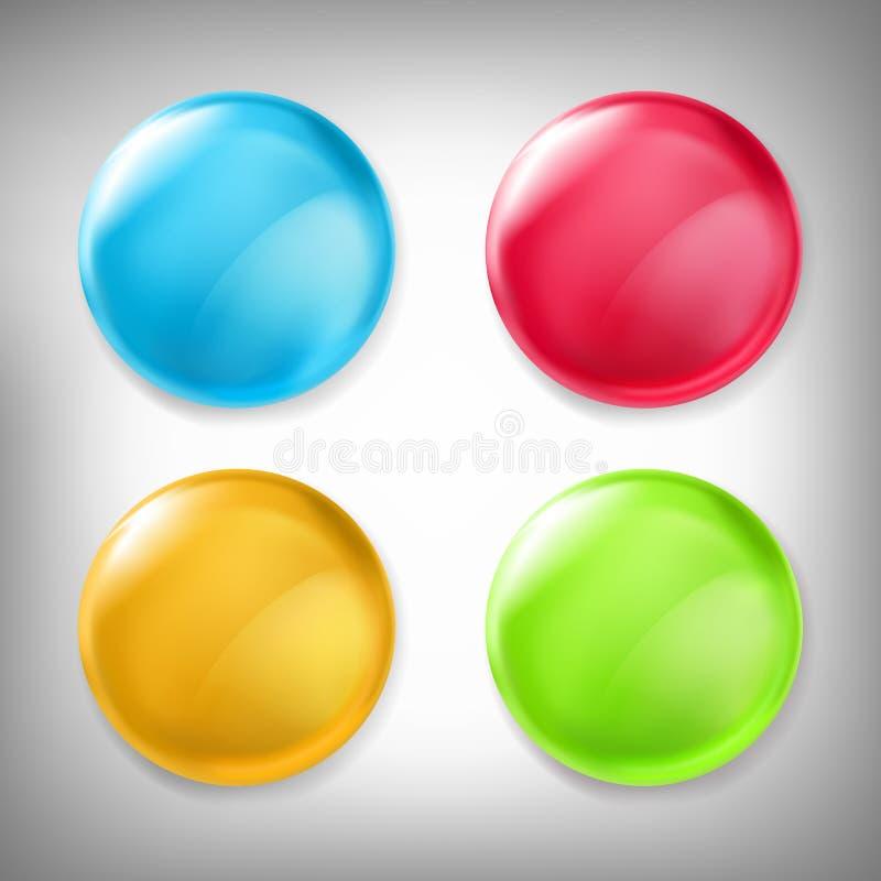 套3D设计元素,光滑的象,按钮,证章蓝色、红色、黄色和绿色隔绝在灰色 库存例证