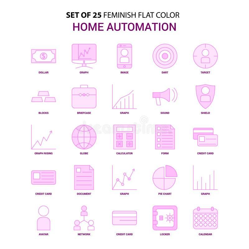 套25 Feminish家庭自动化舱内甲板颜色桃红色象集合 库存例证