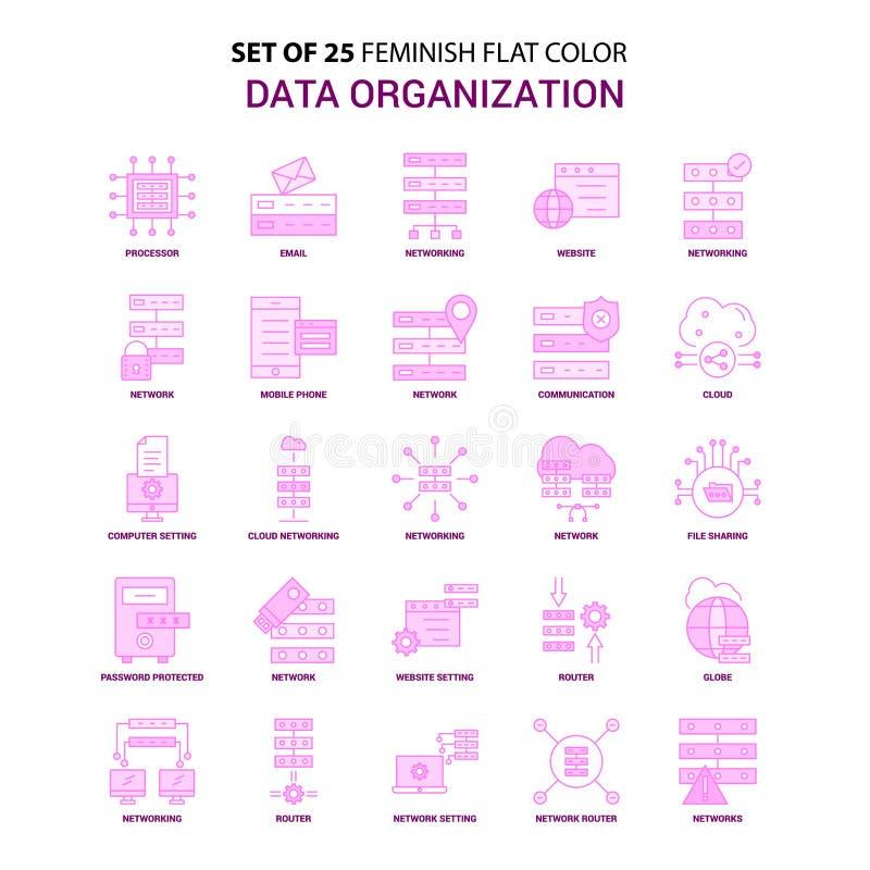 套25 Feminish数据组织平的颜色桃红色象集合 皇族释放例证