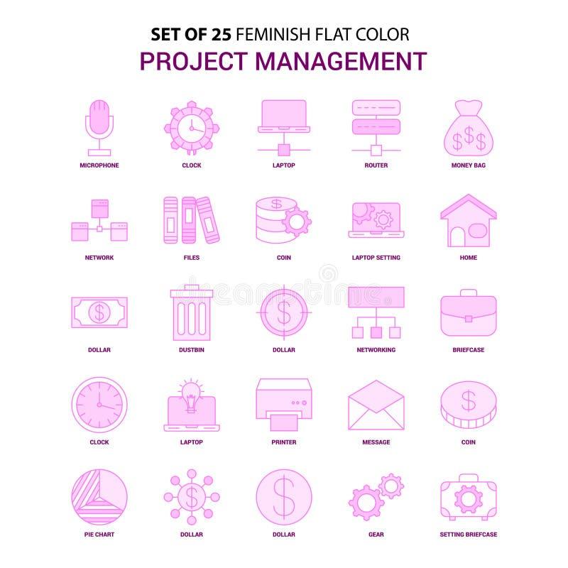 套25 Feminish项目管理平的颜色桃红色象集合 向量例证