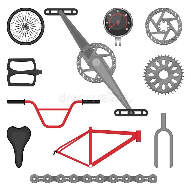 套BMX自行车越野体育自行车传染媒介的零件 库存例证