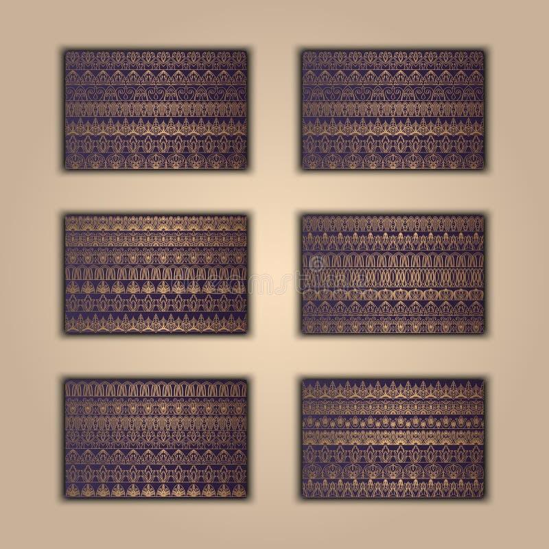 套boho种族横幅 部族企业背景 背景印度装饰品无缝的佩兹利 时髦的模板向量 非洲背景 阿兹台克盖子 皇族释放例证