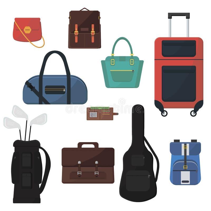 套difenent袋子 五颜六色的辅助部件 平的传染媒介设计 向量例证