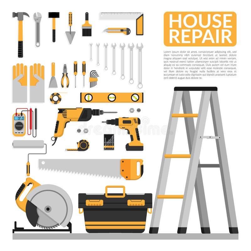套DIY回家修理工具传染媒介商标设计模板 家庭修理横幅,建筑,修理象 接近的现有量老生锈的被抓的工具 库存例证