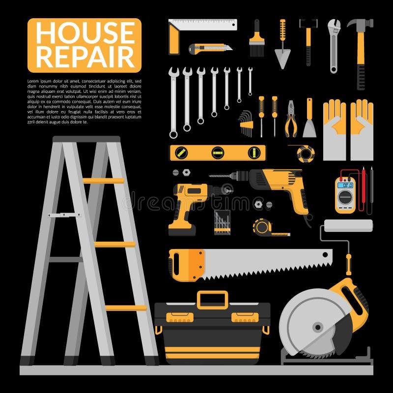 套DIY回家修理工具传染媒介商标设计模板 向量例证