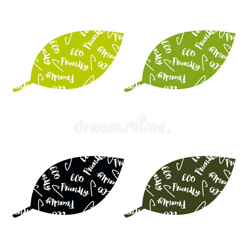 套ECO友好的绿色套绿色标签和徽章与叶子eco友好的产品的 皇族释放例证