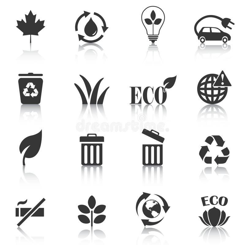套eco象,回收,垃圾桶 也corel凹道例证向量 库存例证