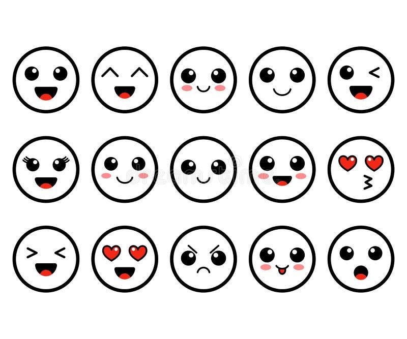 套Emoji 河井概述面孔 逗人喜爱的moticons 平的面带笑容 也corel凹道例证向量 皇族释放例证