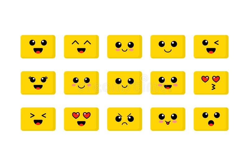 套Emoji 河井黄色面孔 逗人喜爱的意思号 平的面带笑容 也corel凹道例证向量 向量例证