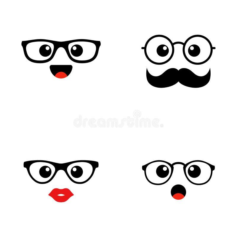 套Emoji 河合町逗人喜爱的面孔 滑稽的意思号 平的象 也corel凹道例证向量 库存例证