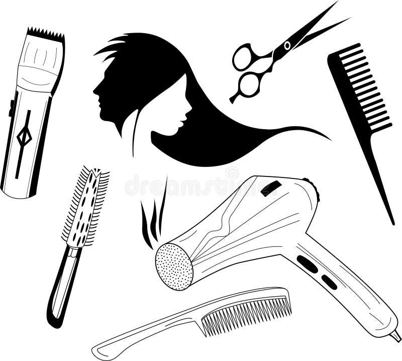 套hairstyler例证 免版税库存照片