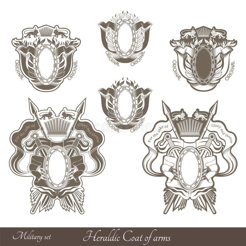 套haraldic纹章学徽章有狮子和葡萄酒武器的 皇族释放例证