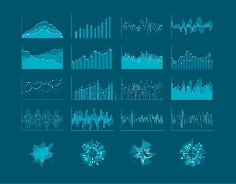 套HUD元素 未来派用户界面 Infographic图统计元素 也corel凹道例证向量 库存例证