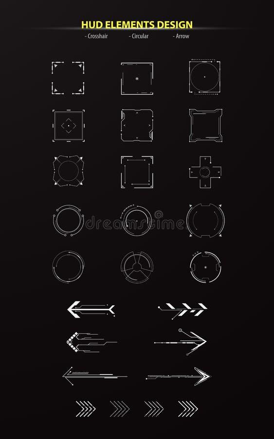 套hud元素汇集组装技术创新概念蒙太奇设计箭头通报十字准线 库存例证