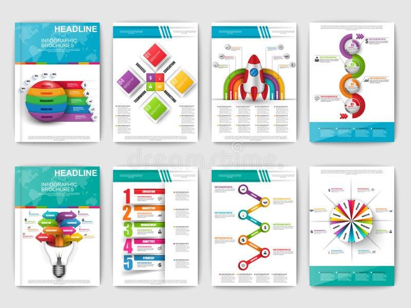 套Infographic小册子 网的现代infographic传染媒介元素,印刷品,杂志,飞行物,小册子,媒介 库存例证